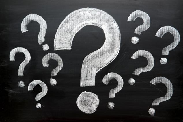 Question Marks on Blackboard